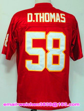 Wholesale Mens Retro JERSEYS 16 Len Dawson 19 Joe Montana 32 Marcus Allen 58 D.Thomas Throwback Vintage Jersey Red BLACK White(China (Mainland))