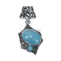 high quality Wholesale blue stone Woman Vintage Jewelry Rose Scarf slide Pendent Scarves Accessories Factory Supply
