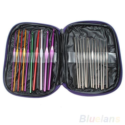 22pcs Mixed Color Aluminum Crochet Hooks Knitting Needles Case Yarn Kit Set with Case 08ZI