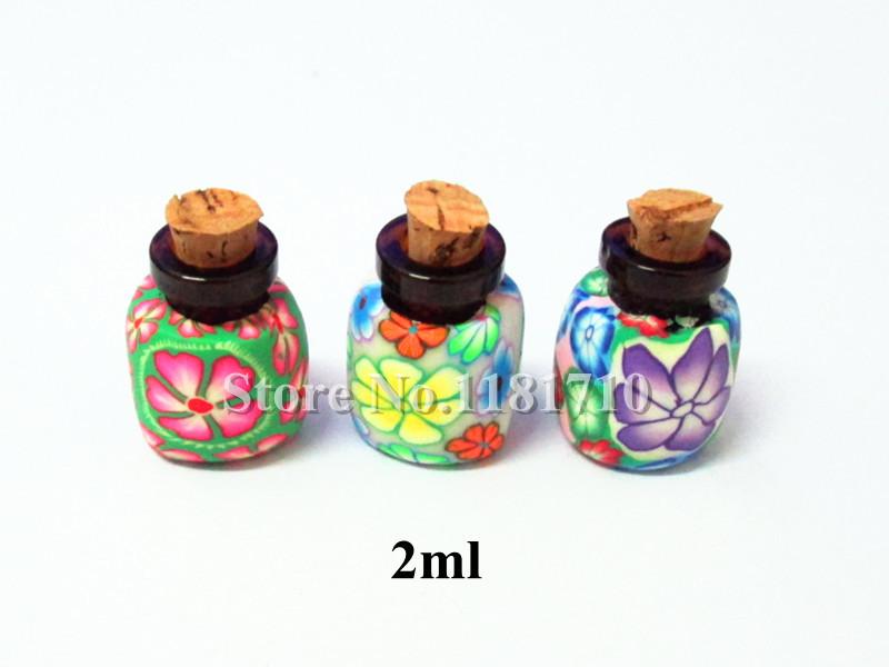 Polymer argila Fimo jóias garrafa com cortiça, Óleo essencial de aromaterapia, Artesanato