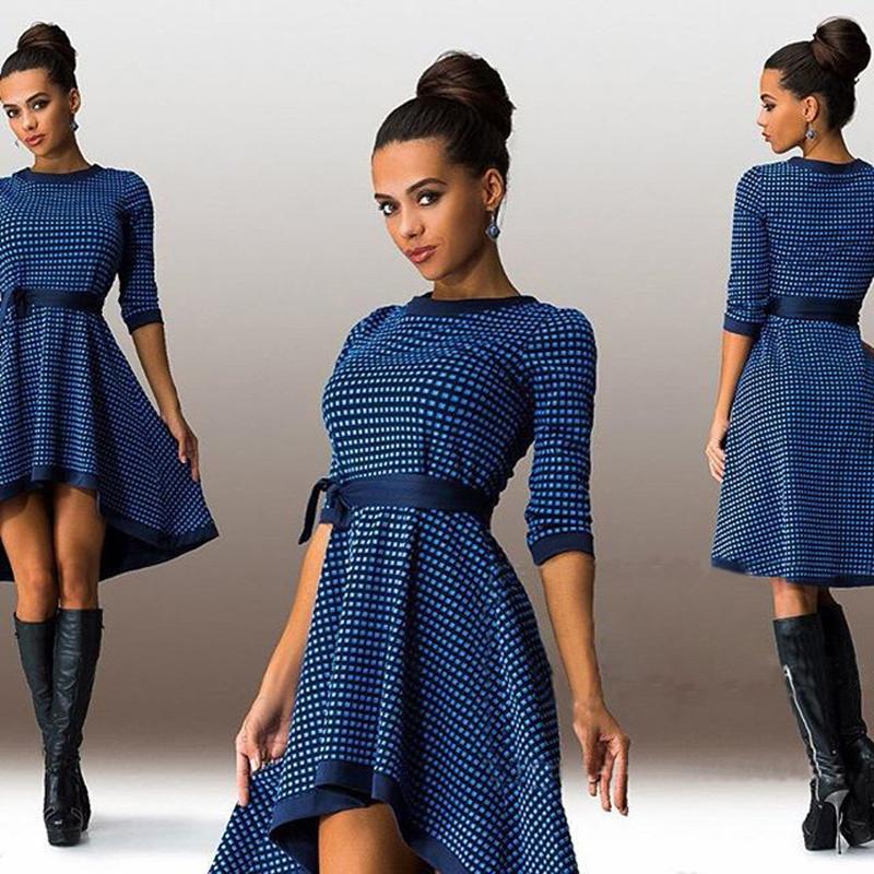Fashion modern ol work wear long batwing sleeves o neck plaid casual