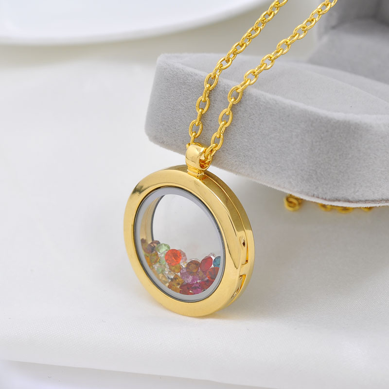 5 Sets 18K Real Gold Round magnetic glass 316L Stainless Steel glass locket memory Locket For DIY floating charm locket necklace(China (Mainland))