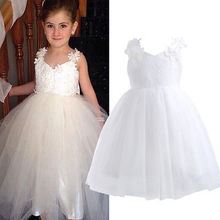 2016 New Spring Flower Girl Princess Dress Kid Party Pageant Wedding Bridesmaid Tutu BALL Bow White