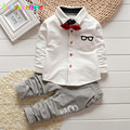 New Kids Fashion Boys Clothes Brands Cotton Glass Print Children Suits Toddler Boy Clothing Tie Tops