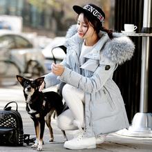 Women s Winter Blue Coats With Real Fur Hood Long Female Winter Jacket Women Duck Down