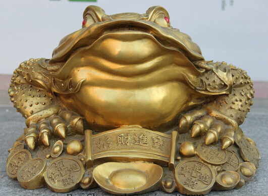 """JP S0524 5"""" Chinese Brass animal Wealth Money Coin Golden Toad Spittor sculpture Statue(China (Mainland))"""
