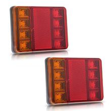 2PCS Waterproof 8 LED Taillights Rear Tail Light DC 12V for Trailer Truck Boat Stop Turn Signal Lights Parking Lights Red Yellow(China (Mainland))