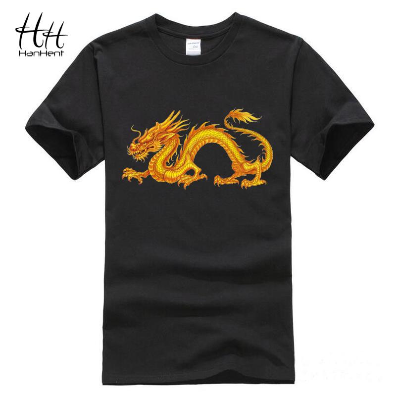Hanhent Chinese Dragon T-shirts Men China Cotton Men's Tee Shirt Novelty Swag Game Of Thrones T shirt Man Gym clothing TA0525(China (Mainland))