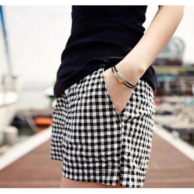 Plus Size Women 2016 Summer Black And White font b Plaid b font Shorts New Fashion