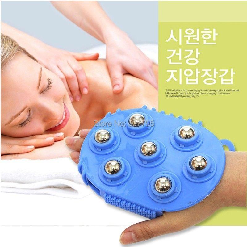 Body Massager Body Face Neck Leg Handheld Massager 360 Degree Spin 7 Piece Steel Ball Roller Massager(China (Mainland))