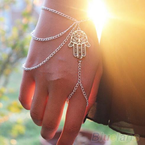 Asymmetric Mens fashion Hamsa Fatima Finger Ring Slave Hand Chain Women Harness 1I87(China (Mainland))