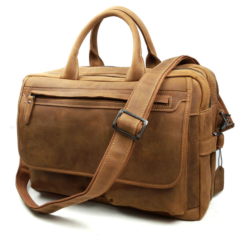 New Crazy Horse Leather Bag Man Messenger Bag high quality laptop briefcase Fashion Causal leather laptop business bag<br><br>Aliexpress