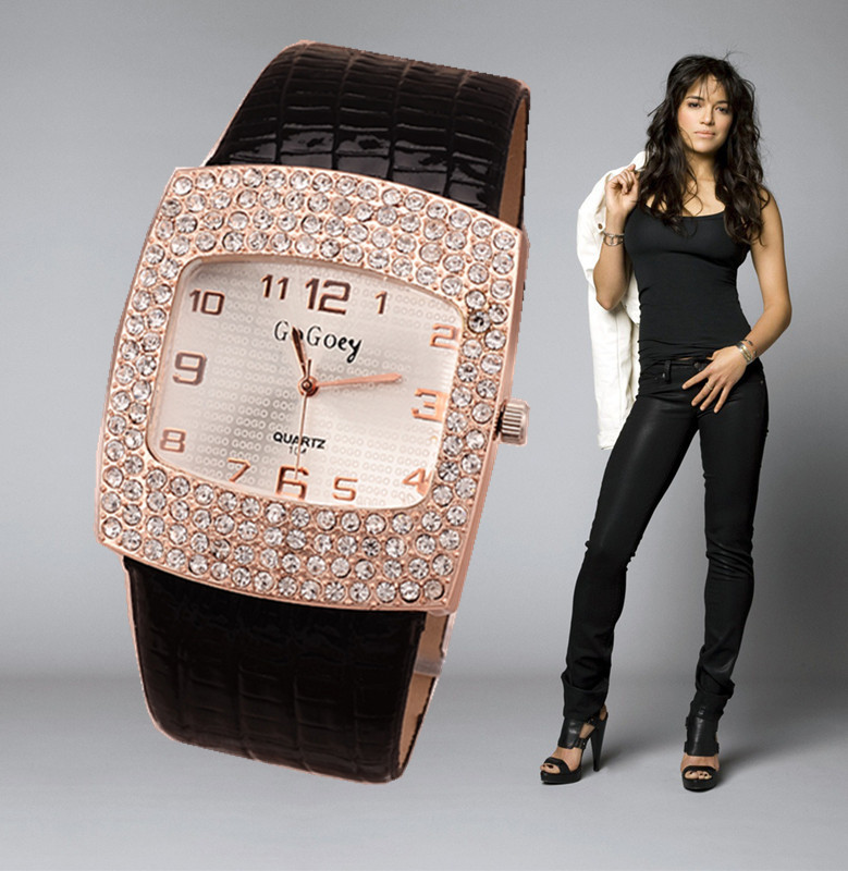 2015 Women's Fashion Watch Best Selling Quartz Leather Wristwatch Analog Crystal Rectangle Dial Rhinestone Watches Ladies Casual(China (Mainland))