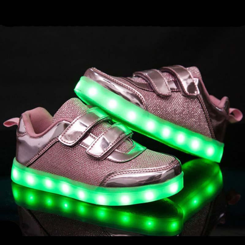 New Fashion Kids font b Shoes b font Led Luminous Light Up Sneakers Gold Autumn Boys