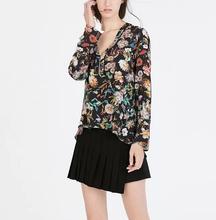 2015 ZA brand women Printing V-neck Zipper decoration Long sleeve Blouse Fashion lady Shirt Blusas Plus Size Free shipping#S213(China (Mainland))