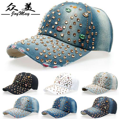 Factory Price Wholesale Retail JoyMay Hat Hat Cap Fashion Leisure Rhinestones Bling Women Cap Vintage Jean Men Hat Cap B074(China (Mainland))