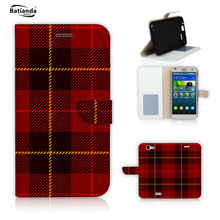 Luxury X9 Flip Stand PU Leather Case Cover For HTC One X9 Classical Tartan Pattern Print Phone Bag Cases