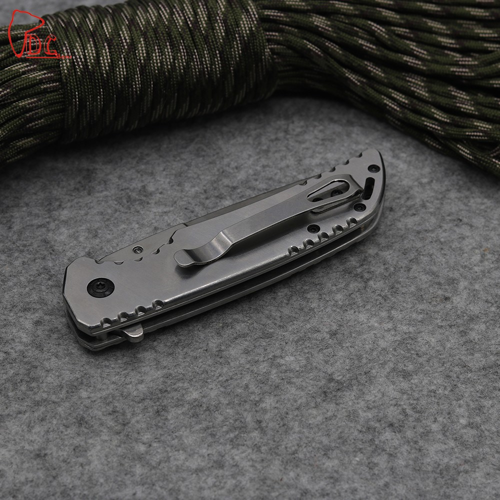 Buy Dcbear Tactical Folding Blade Knife 3CR13 Steel Blade Survival Knives Wood and Steel Handle Camping Pocket Knife Tools cheap