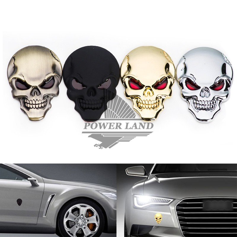 Universal Fit Car Styling Zinc Alloy 3D Skull Logo Emblem Badge Decal Symbol Sticker For Motorcycle Car Dodge Ford Free Shipping(China (Mainland))