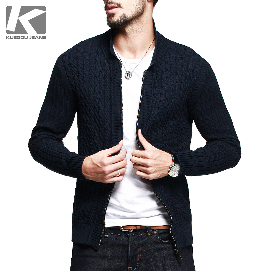 What materials are men's sweaters made from? Wool and wool blends: Wool is a traditional material for men's cardigans and pullovers. Blue-faced Leicester, merino and lambswool may be used in men's sweaters. Wool is sometimes blended with cotton for warmth and ease of laundering.