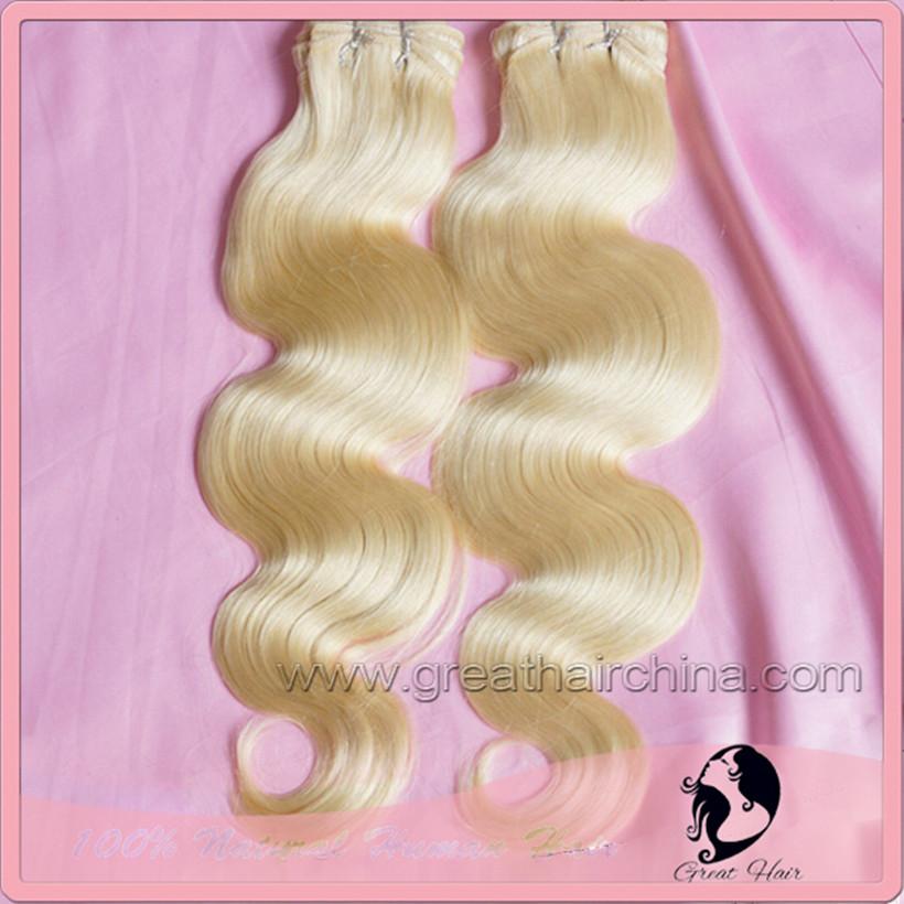 """100% Slavic Blonde Body Wave Real Natural Hair Extension, 16""""-26"""" 613# Natural Hair Weaving 1 Piece/Lot, Free Shipping(China (Mainland))"""