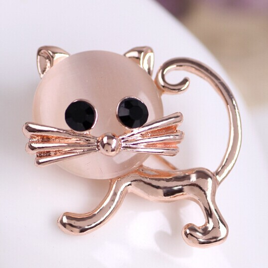 Kawaii Cute Cat Brooches bouquet Fine Anniversary Jewelry Rose Gold Broches Lot Selling Good Quality Rhinestone Pin Broaches Vaz(China (Mainland))