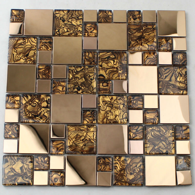 Crystal glass tiles sheet mosaic art wall stickers kls033 Mosaic kitchen wall tiles ideas