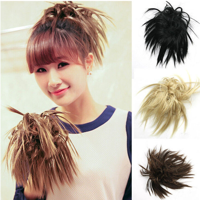 Natural Black/Brown Short Wavy Curly Bomb Hairpiece Ponytail Hair Extensions Cheap Women's Ponytails