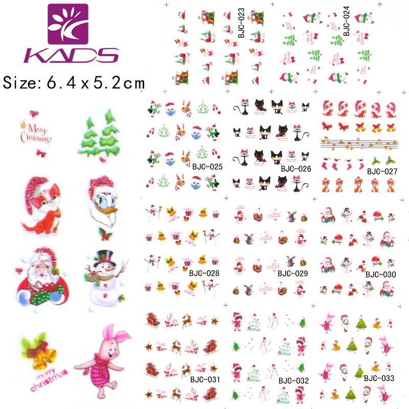 11sheet/SET BJC023-033 cat nail design Gitter Christmas nail sticker decals water sticker for water decals nail art stickers(China (Mainland))