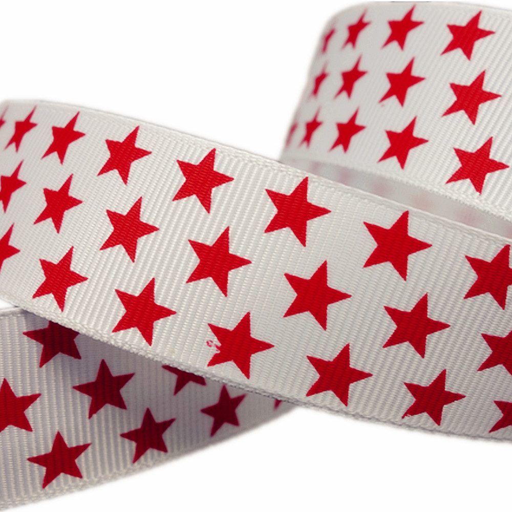 """5Yds/pcs 1"""" Red Star Printed Patriotic White Grosgrain Ribbon Sewing Supplies Gift Wrap Hair Accessories Handmade(China (Mainland))"""