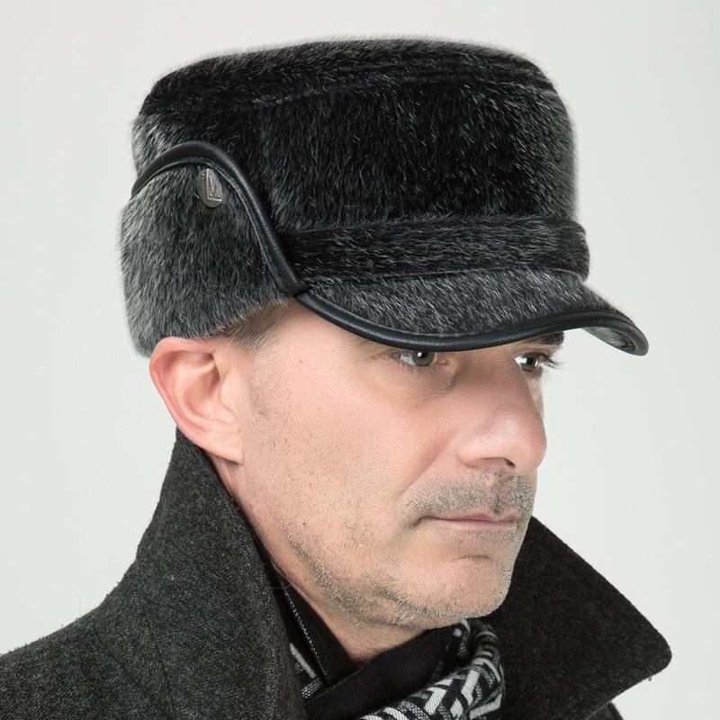 winter hat for men middle aged mink winter bomber hats