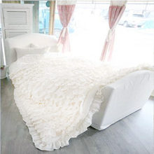 Romantic white lotus leaf spoondrifts solid color four piece bedding set home bedding