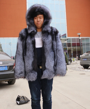 Silver Fox Fur Coats Hooded Genuine Fur Outerwear Coats For Male Long Sleeve High Quality New Style Real Men Coat Natural Fur(China (Mainland))