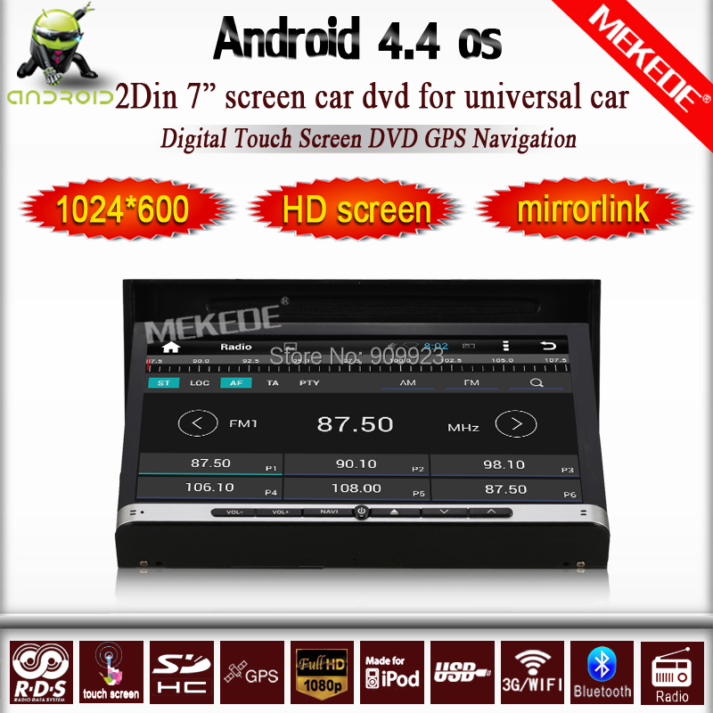 """free map+7"""" Android 4.4 Double Two 2din Car Radio Stereo Audio DVD Player GPS Navi Navigation HD Touch Screen Car Pc Multimedia(China (Mainland))"""