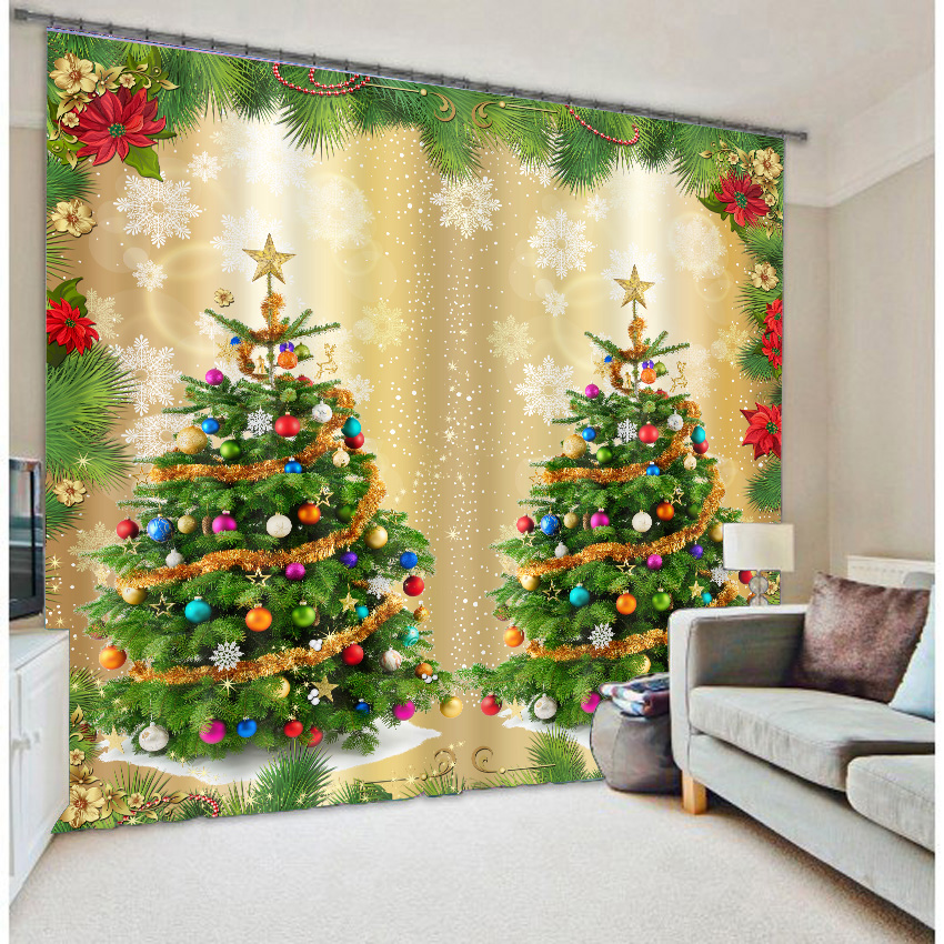 Christmas Tree 3D Curtains-in Curtains from Home & Garden on ...