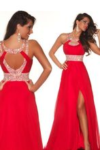 Prom Dresses In Stock A Line Scoop Beads Real Image Backless Party Dresses Side Split 2016 Sexy Red and Blue Floor Length(China (Mainland))