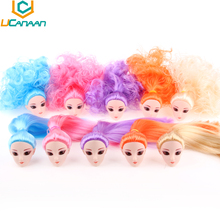 UCanaan Toys 1 Head For Barbie Doll Colorful Hair to chose Free Shipping Accessories for Barbie 1/6 Doll 30cm height DIY(China (Mainland))