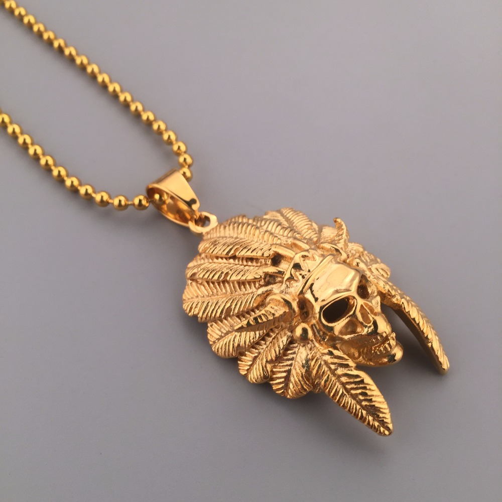 18k gold plated tribal chief pendant necklace chain