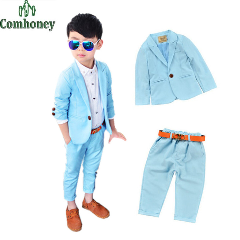 Toddler Boys Blazer Set Wedding Clothes Baby Boy Formal Wear Party Boys Tuxedo Suits Jacket+Pants+Belt Candy Color Kids Clothing(China (Mainland))