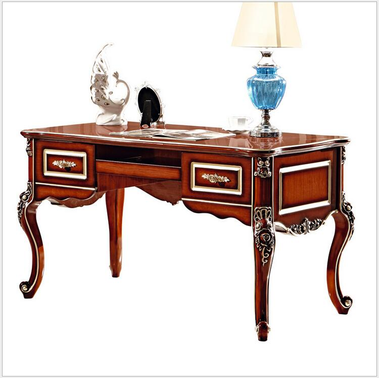 French Baroque Style Luxury Executive Office desk/ European Classic Wood carving Writing table/ Retro Home Office Furniture 900(China (Mainland))