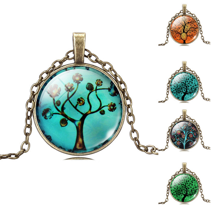 Life Tree Pendant Necklace Art Tree glass cabochon Necklace Bronze chain vintage choker statement Necklace Fashion women Jewelry(China (Mainland))