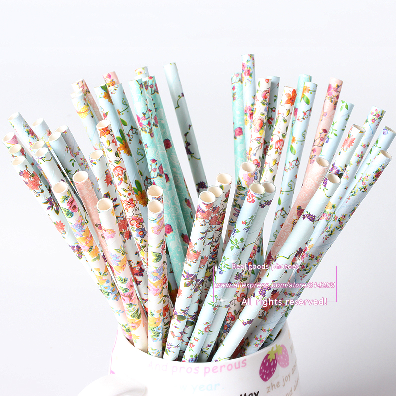 100Pcs/Lot, 10 Vintage Retro Floral Paper Straws Biodegradable Drinking Paper Straws for Wedding Decoration, Wedding Events(China (Mainland))
