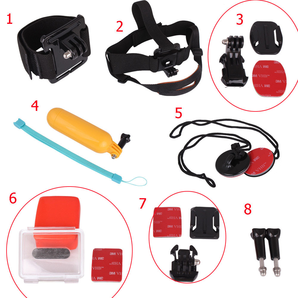 Andoer 8in1 Accessories Set Head Strap Folating Hand Grip Wrist Band Curved Base 3M Sticker Ski Surf for Gopro Hero 3+ 4(China (Mainland))