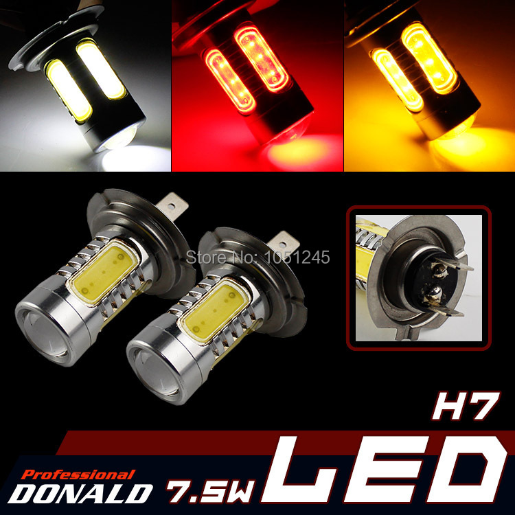 2x COB H7 7.5W Car LED DRL Day Driving Daytime Running Fog HeadLight W/ Projector Lighting Bulb Lamp White Red Yellow Blue Green(China (Mainland))