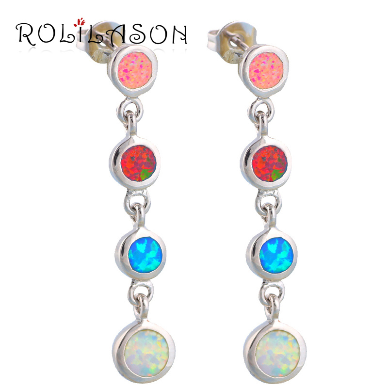 3.37g Excellent Color Fire Opal Silver Stamped Drop Earrings women Fashion Jewelry gifts OE291 - ROLILASON Store store