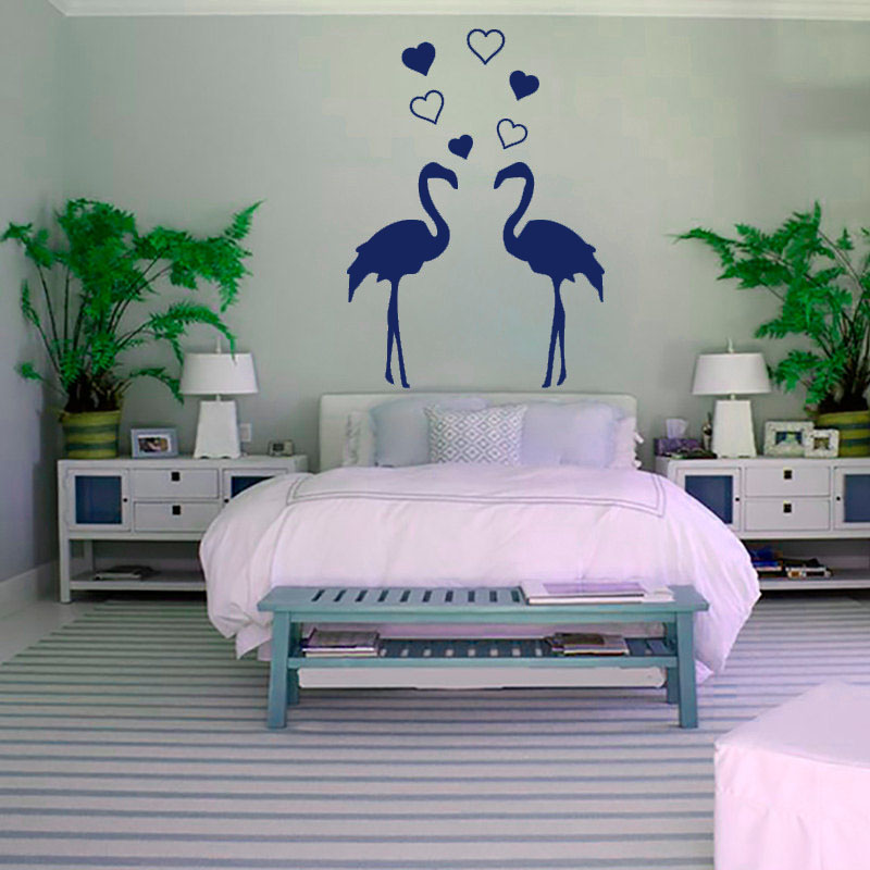 Two Flamingo Wall Sticker Bedroom Removable Vinyl Art Home Decor Hearts Wall Decals For