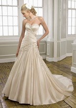 Ready Made white Ivory Sweetheart neckline Real Picture A-line Wedding Dress In Stock(China (Mainland))