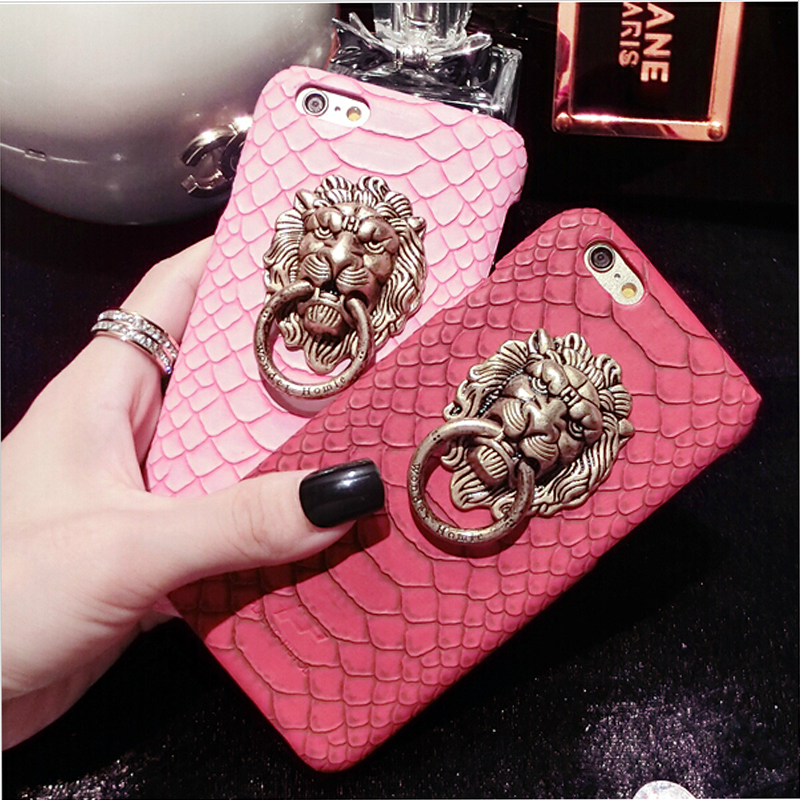 Fantasy Chinese Lion Head Hard Case For Apple iPhone 5 5S 5G Funncy Metal Ring Stand Holder Snake Skin Cover For iphone 5s(China (Mainland))