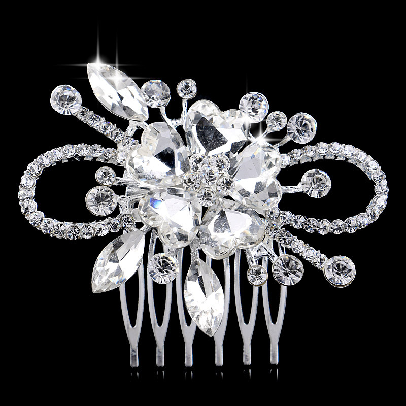 Shine Heart Crystal Floral Korean CZ Rhinestone Wedding Party Hair Comb Tiara Jewelry - Blue Stone store
