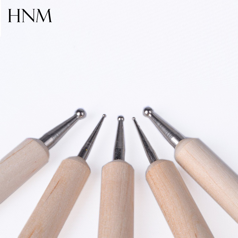 5Pcs/Set Professional Two-Way Wooden Dotting Pen Wood Drawing Painting Tool for Gel Nail Polish DIY Design Manicure Tool Set